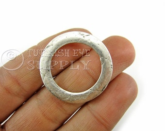 5 pc Organic Textured Large Round Loop Connector Pendant Loop Ring Charms Antique Silver Plated Jewelry Components, Turkish jewelry Supplies