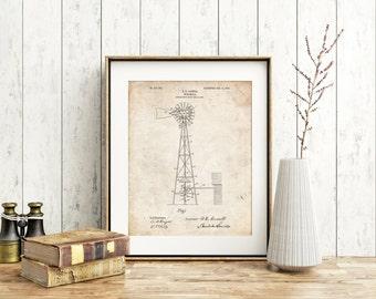 Windmill 1906 Patent Poster, Antique Windmill, Farm Wall Art, Windmill Decor, Farmhouse Decor, PP1137