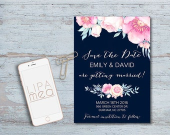 Printable Save the date Card, Floral Save the Date, Peonies Save the Date, Boho Save The Date Card Printable, Navy & Pink Save the date