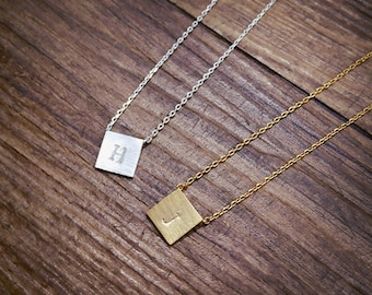 Personalized necklace,initial necklace, square necklace,Minimal Necklace,Geometric necklace, Layering Necklace