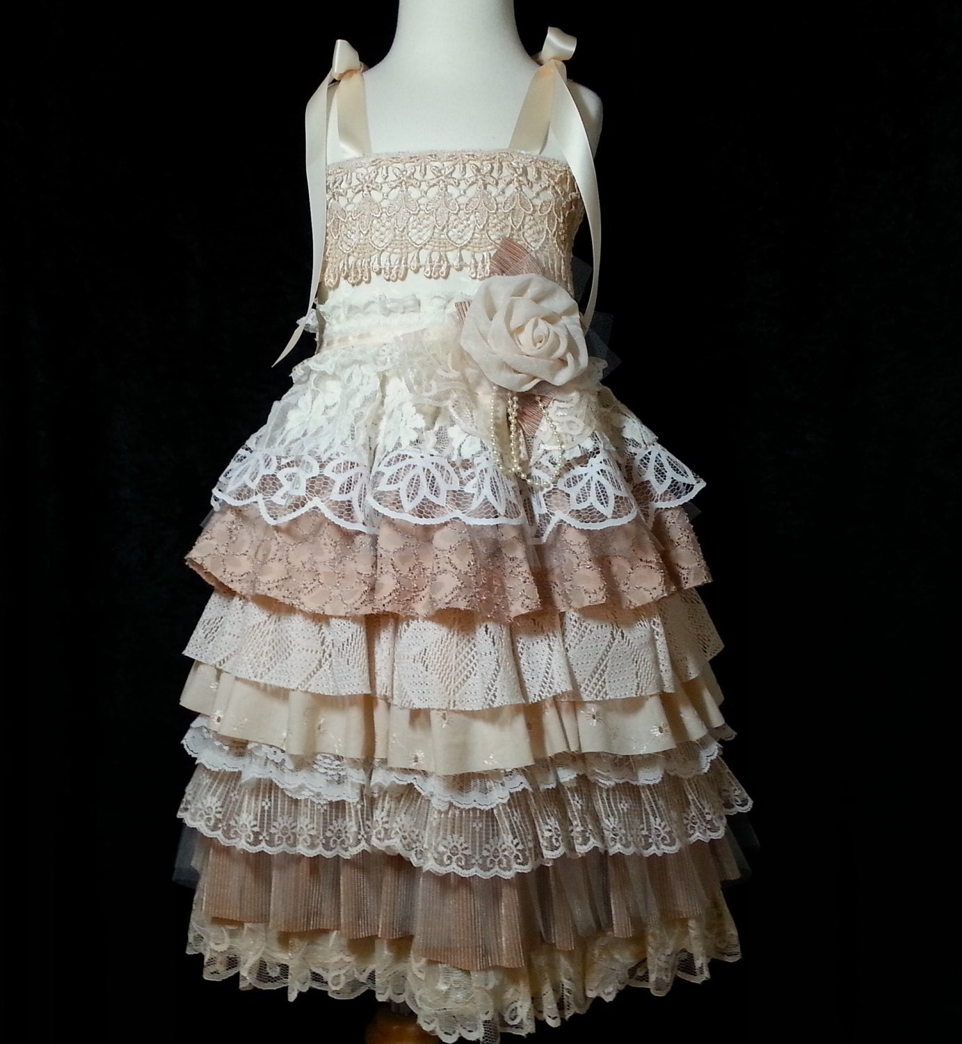 Country Lace Flower Girl Dress READY TO SHIP Girl s
