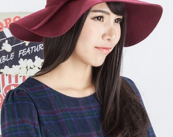 Free Shipping - Felted Wool Floppy Hat (Burgundy)