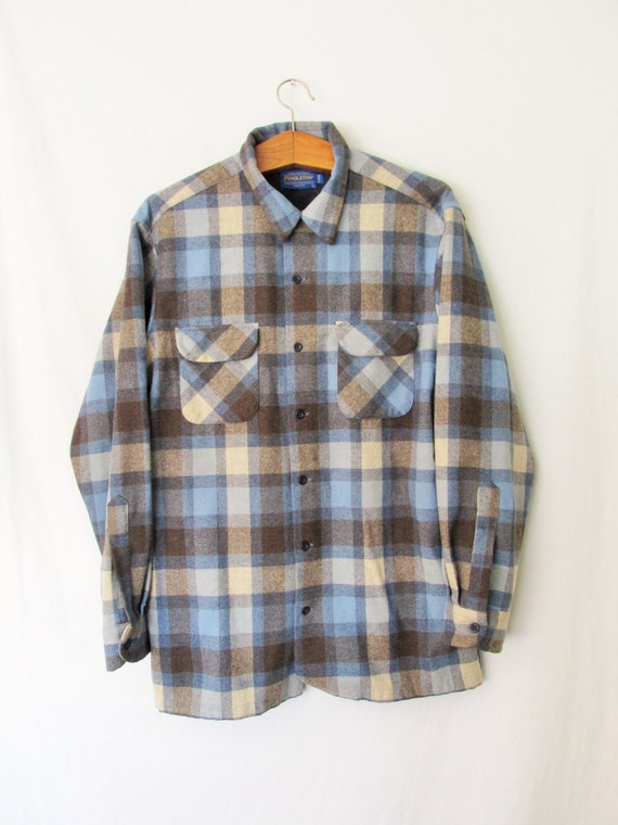 Vintage Pendleton Wool Plaid Flannel Button Down Shirt