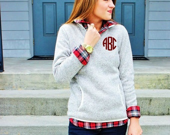 Monogrammed Fleece Jacket  | Preppy Personalized Charles River Heathered Sweater Fleece Pullover