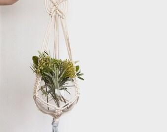 Blue macrame plant hanger, dyed plant hanger, pot plant holder, plant hanging basket, rope pot planter, indoor planter, terrarium holder
