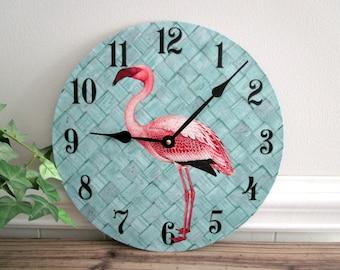 Flamingo Wall Clock - Tropical Beach Wall Clock - Pink Flamingo Decor - Aqua & Pink Florida Decor - Unique Wall Clock - Upcycled Wall Decor