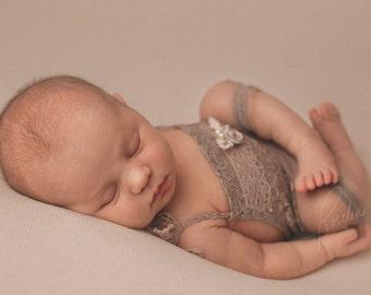 Newborn Lace Romper; Taupe; Newborn Romper Prop; Baby Girl Outfit; Newborn Outfit Prop; Newborn Photo Prop; Photography Prop; Newborn Prop