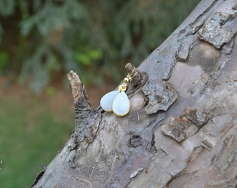 White Druse Agate Teardrop Earrings, with Gold Vermeil Bezel Setting and Gold Filled ear wires (Choose from 2 hues)
