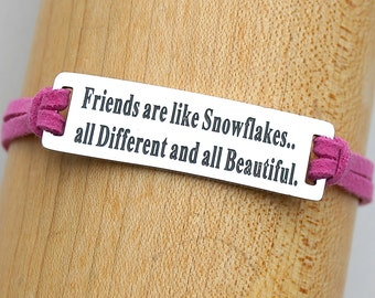 Friends Are Like Snowflakes , Stainless Steel Charm Bracelet , Adjustable Faux Suede Leather Cord Bracelet, Gift For Her,ST755