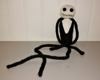 JACK SKELLINGTON hand-knit doll, Stocking Stuffer, Knitted Doll, Knitted Jack