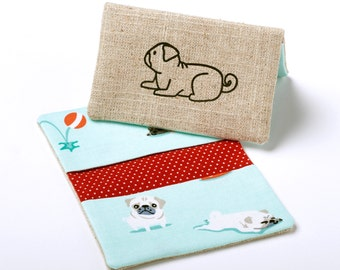 Pug Wallet, Dog Business Card Holder, Small Compact Wallet - Pug Gift / Dog Gifts