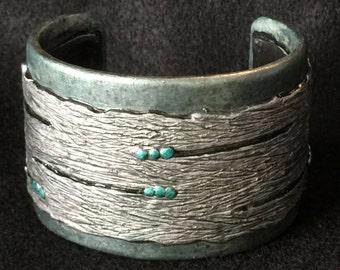 Cuff Bracelet Bangle Boho Polymer Clay Mid Century Modern Jewelry ABACUS by Donna Pellegata ArtCirque