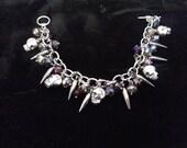 Skulls, Spikes Charm Bracelet Gun Metal Chain with Gems Punk Biker Chunky Charm Bracelet Gift for her.