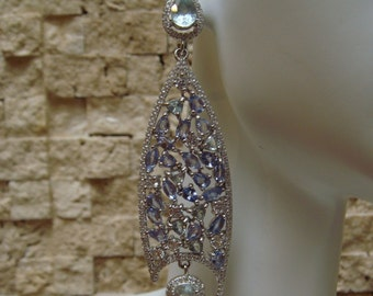Long Blue Topaz, Tanzanite and CZ drop earring in Sterling Silver