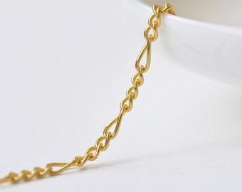 16ft (5m) Fancy Figaro Chain Non Tarnish 16K Gold Sturdy Decorative Chain 2.5x6mm A5933