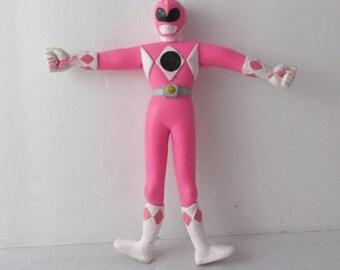 MMPR Power Rangers Pink Bend Ems Figure Toy 1990s Saban?