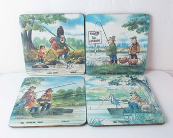 Vintage 1988 Illustration Drink Coasters Fishing WM Garner Set Of 4
