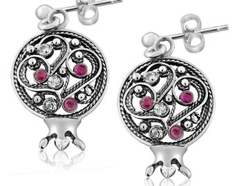 Sterling Silver Stud Filigree Pomegranate Earrings Ruby Gems Cubic Zirconia