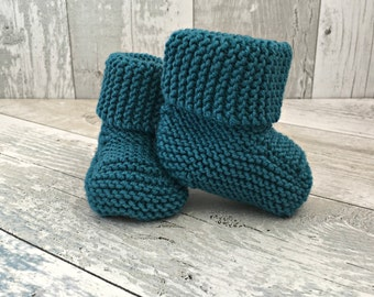 Baby Boots, Knitted Baby Clothes, Hand Knit Baby Booties, Gender Neutral Baby Clothes, Teal Baby Shower Gift, Newborn Boy Coming Home Outfit