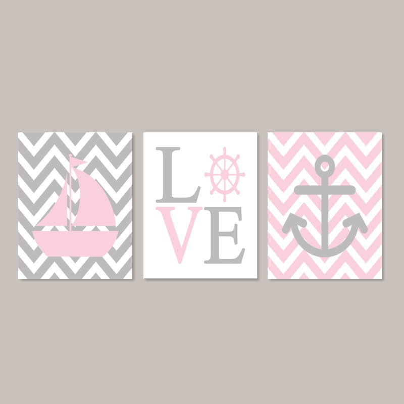 pink gray nursery wall art nautical nursery decor nautical. Black Bedroom Furniture Sets. Home Design Ideas