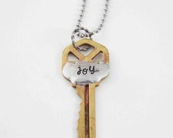 Key Necklace, Vintage Key Necklace, Joy Necklace, Key Jewelry, Stamped Key Necklace, Brass Key, Word Jewelry, Vintage Keys, Key Pendant