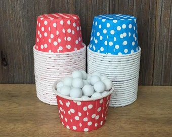 Red and Blue Paper Snack Cups - Set of 48 - Polka Dot Candy Cup - Birthday Party - Mini Ice Cream Cups - Paper Nut Cup - Same Day Shipping