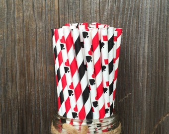 100 Card themed, red and black striped paper straws - Casino Night, Card Party, Free Shipping!