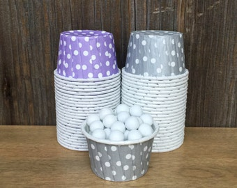 48 Lilac and Silver Candy Cups--Lavender Nut Cups--Silver Polka Dot Cups--Baby Shower-- Birthday Party--Wedding Supply