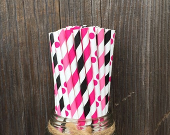 100 Pink and Black Stripe and Polka Dot Paper Straws - Barbie, Diva Birthday- 50th Party Supply