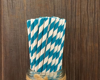 Teal Straws, 100 Stripe Straws, Teal Blue Straw, Teal Birthday Party,  Paper Party Straws, Baby Shower, Wedding Supply,  Free Shipping
