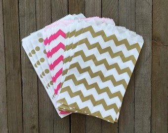 48 Hot Pink and Gold Favor Bags- Chevron and Polka Dot Treat Sacks- Birthday, Baby Shower, Wedding Party Supply- Gift Bags