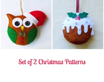 Set of 2 Felt Christmas Ornament Patterns, Santa Owl and Christmas Pudding, Tutorials, Instant Download, Easy Step-by-Step Instructions