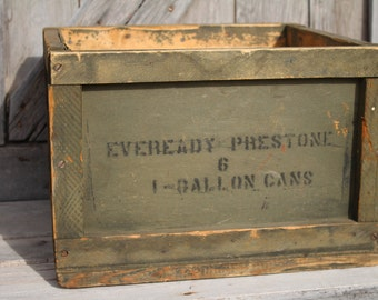 Eveready Prestone Anti-Freeze Wooden Shipping Crate