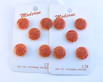 "5/8""  Plastic Red & Orange Swirl Vintage Shank Buttons - 15 mm Red Sewing Buttons - Carded Buttons - Button Card #RS-27-01"