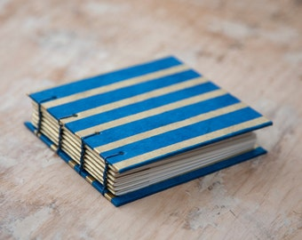Hand Bound Mini Sketchbook - Coptic Stitch - Journal / Notebook - Blue & Gold Stripes - Small - Pocket Journal / Travel Journal / Diary