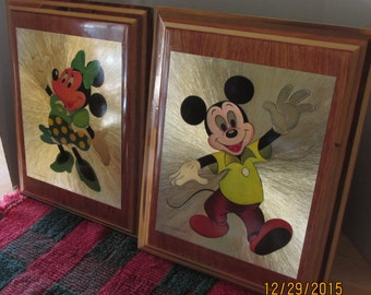 VINTAGE MICKEY And MINNIE Mouse plaques