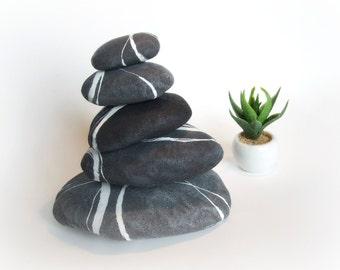 Stones tower Rock cairn Stacked rock piles Zen garden decorations
