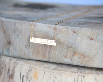 Bar Roman Numeral 14kt Gold filled/ Bar Necklace, Gold Bar Necklace,  Initial necklace, Hand stamped,  Nameplate Necklace, Bridesmaid