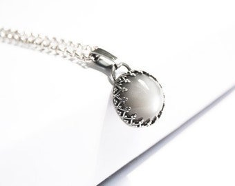 Handmade Grey Moonstone pendant, oxidized sterling silver, 13mm moonstone cabochon, crown bezel