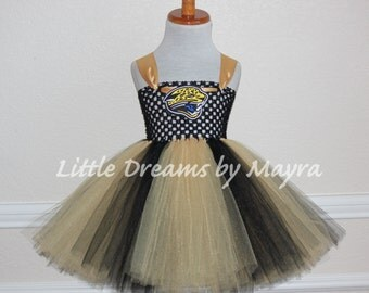 Jacksonville Jaguars inspired tutu dress and matching bow size nb to 12years