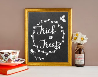 Trick or Treat Sign - Halloween Decorations - Halloween Decor - Trick or Treat - Fall Decor - Fall Decorations - Fall Signs - Autumn Decor