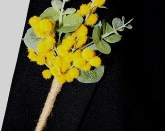 Australian Golden Wattle Buttonhole for Groom or Groomsman -  Aussie Wedding Buttonhole, Boutonniere