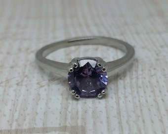 Alexandrite 1.5ct solitaire ring in Titanium or White Gold - engagement ring - wedding ring - handmade ring