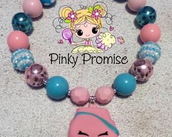 "Shopkins ""Katie Clasp"" Toddler/Child Handmade Chunky Rhinestone Necklace"