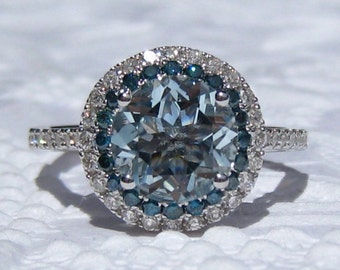 Aquamarine Engagement Ring, White Gold Diamond Halo Engagement Ring with Blue Diamonds, Blue Diamond Engagement Ring