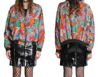 80s 90s Silk Bomber Jacket - Floral Bomber Jacket - Abstract Print - 100% Silk - 90s Jacket Coat - Slouchy Oversized - Grunge Goth Boho