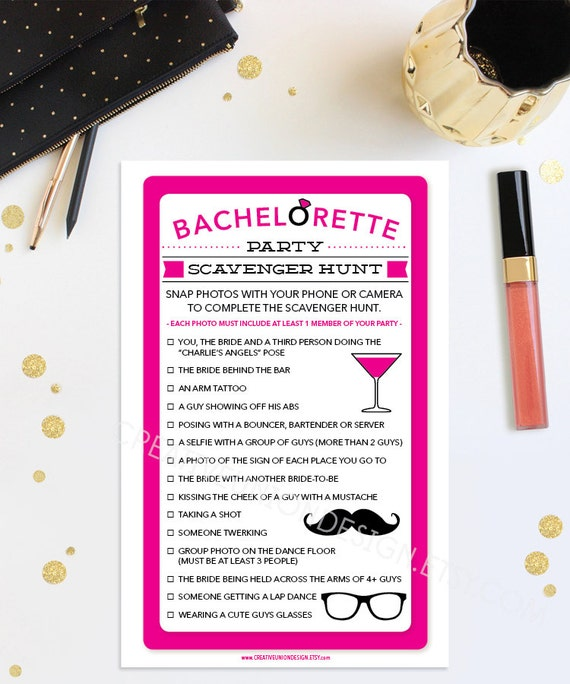Bachelorette Scavenger Hunt Bachelorette Party Game