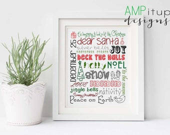 Christmas Decor Download - Christmas Instant Download - Christmas Home Decor - Christmas Printable Subway Art - Printable Christmas Decor