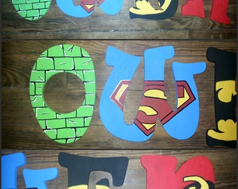 Super Hero Inspired Hand Painted Letters, Custom Wood Letters, Custom Name Letters, Super Hero Letters, Painted Letters, Name Letters