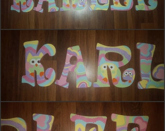 Owl Letters - Hand Painted Letters - Tie Dye Letters - Pastel Owl Letters - Name Letters - Wood Letters - Painted Letters - Owl Name Letters